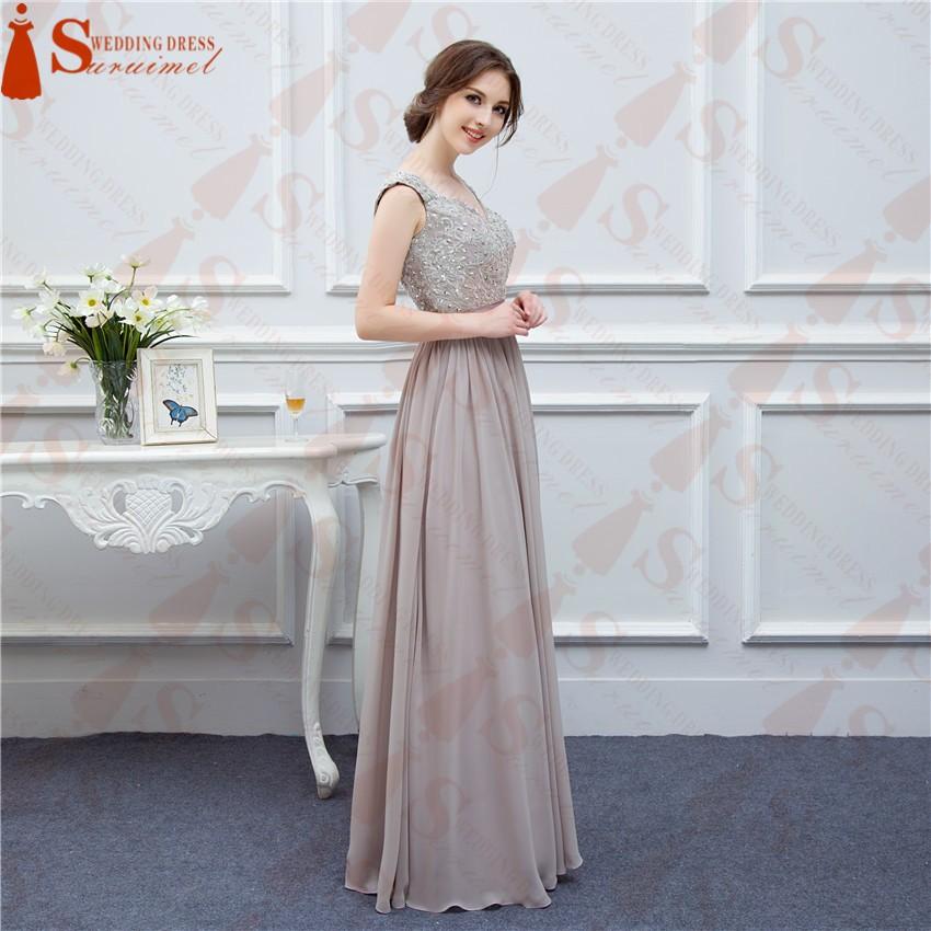 Free Shipping Gray Bridesmaid Dresses Long Chiffon High Quality ...