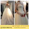 Ball gown 2014 long sleeves muslim bridal wedding dress with lace beading appliques vestido de novia