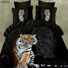 Hot sale animal design 100% polyester queen size tiger printed 3d bed sheets wholesale