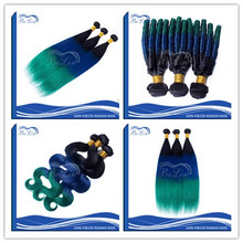 Wholesale Natural Hair Extensions 7A Virgin Brazilian Blue Hair Weave Color Ombre 3 Tone 1b Blue Green Human Hair Weaves