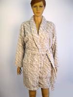 Double stripe fleece bathrobe for women