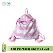 Fashion Pink Stripe Drawstring Bag,210D Polyester Drawstring Backpack