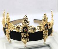 Baroque Gold cross delicate desgin women wedding hair bands bridal crown and tiara hairpin photograph