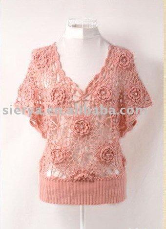 Para mujer del verano la mano de ganchillo suéter