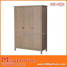 3 door with garment rod large storage space cheap wardrobe