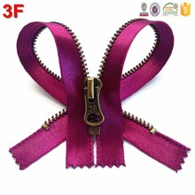5# metal Y teeth closed antique brass rose purple tape end autolock zipper for fashion wear & garment accessories