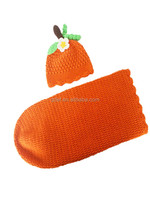 handmade model knitted hat, crochet baby sleeping bag ,Newborn baby boy costume clothes
