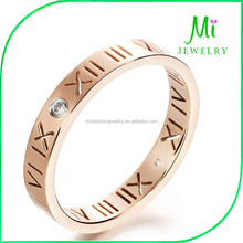 316 Stainless Roman Letter Diamond Rings Rose Gold Plated