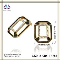 Factory Custom Square Pillow Shape Hollow Alloy Gold Filled Earring Pave Zircon Earring For Women