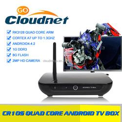 cheap dual core cpu rockchip rk3128 tv box with HD camera and bluetooth kodi 15.2 hd sex pron video tv box