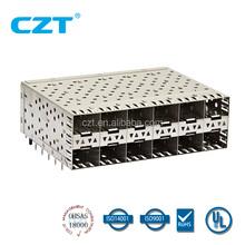 SFP+ Cage 2x6 Press Fit w light pipe CZT logo (10716026F002)