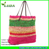 LUDA Fashion Colorful Straw Totes Crochet Paper Straw Beach Bags On Sale