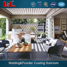 Aluminium water proof electric pergola.Electric movable blade.Opening roof louver,motorized dynamic sun louver