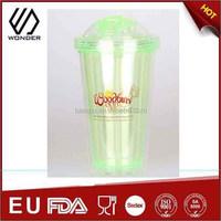 16oz double wall fruit coffee mug with foldable straw