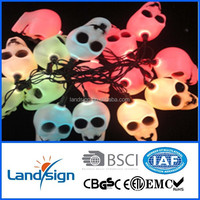 Cixi Landsign super powered 4.5m 10 leds solar skull and ghost string light for Halloween gifts&crafts