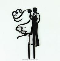 Lover's Hug Black Acrylic Cake Topper Wedding Party Accessory
