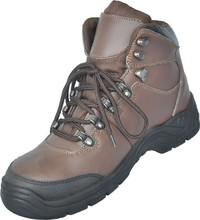 High ankle action leather safety boots