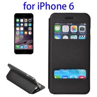 Dual View Window Style Leather Flip Cheap Mobile Phone Case for iPhone 6