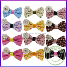 """In Stock 1.8"""" Fabric Hairbows Crafted Polka-Dots Hair Ribbon Bow With Pearl Flower For Kids Hair"""