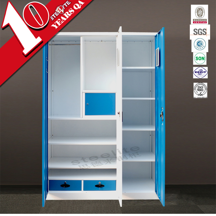 powder coated bedroom furniture steel almirah 3 door