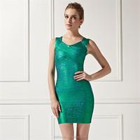 Green printed nice big size women dress evening dress