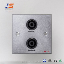 (JS-WP118) XLR*2 wall socket outlets brushed or sand blast with CE ISO