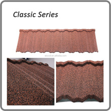 manufacture colorful stone coated metal roofing tile/color stone metal step tile roof/color stone chip coated metal roof tile
