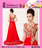 Latest Bead Embroidered Long Red Evening Dress Sexy Bare Back Long Red Evening Dress