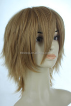 """Factory customised 8"""" new School green wig synthetic cospaly wig medium white blonde Hot sales art boy's brown wig"""