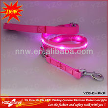 outdoor pet products retractable dog leash with pink LED