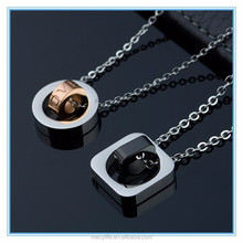 MECY LIFE newest circle and square stainless steel love couple necklace