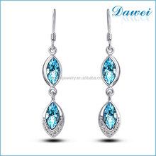popular hot sale leaf crystal stud earrings