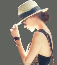 Wide brim straw hat Panama sunshade hat Summer beach holiday hat