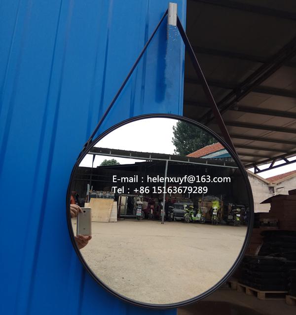 Superior Großhandel Billig 55 Durchmesser Schwarz Beschichtet Metallrahmen Dekorative  Wandspiegel Mit Lederband