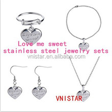 Vnistar high quality necklace bracelet earring ring Love me sweet stainless steel jewelry set VSS005