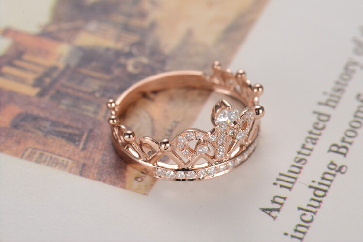Sterling Silver Rose Gold Crown Sona Diamond Engagement