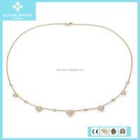 Custom Design Zircon Floral Pure Silver Gold Chain Necklace Alibaba Jewellery