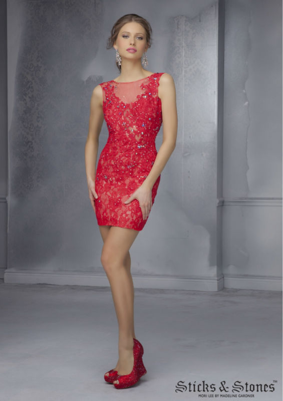Red Short Tight Homecoming Dresses 2015