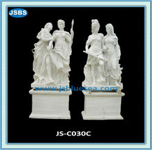 White Stone Carved Roman Man And Woman Statue