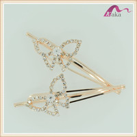 Yiwu ,China Factory Wholesale Gold Crystal Butterfly Hair Pins & Hair Clips For Girls Hair Accessories