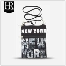 NEW YORK black cotton canvas neck wallet