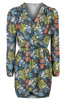 Long Sleevelss Fancy Floral Wrap Dress for Autumn