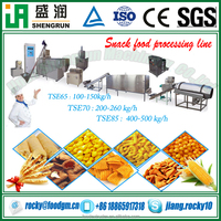 corn starch puffed snacks food making production extruding machine line