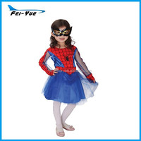 4-12Y Children Kids Halloween Carnival Party Long Sleeve Organza Ball Dress Fancy Spider Girl Costumes + Eyeshade