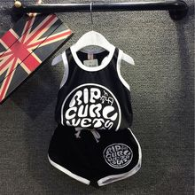 Kids summer paragraph alphabet boys casual sleeveless vest + shorts suit boy suit