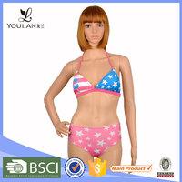 Hot Sale Comfortable Flag Print Open Sex Gril Bikini