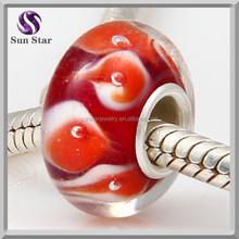 Unique red fish fashion european glass beads