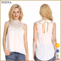 Sexy Hollow-out Lace Neck and Tie Back Design Lady Top