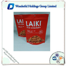 stand up plastic packaging bags for snack /LAIKI rice cracker food bags /stand up zip bags for rice make food