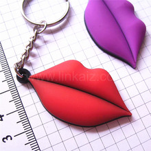 New style branded pvc rubber keyring 3d red lip keychain